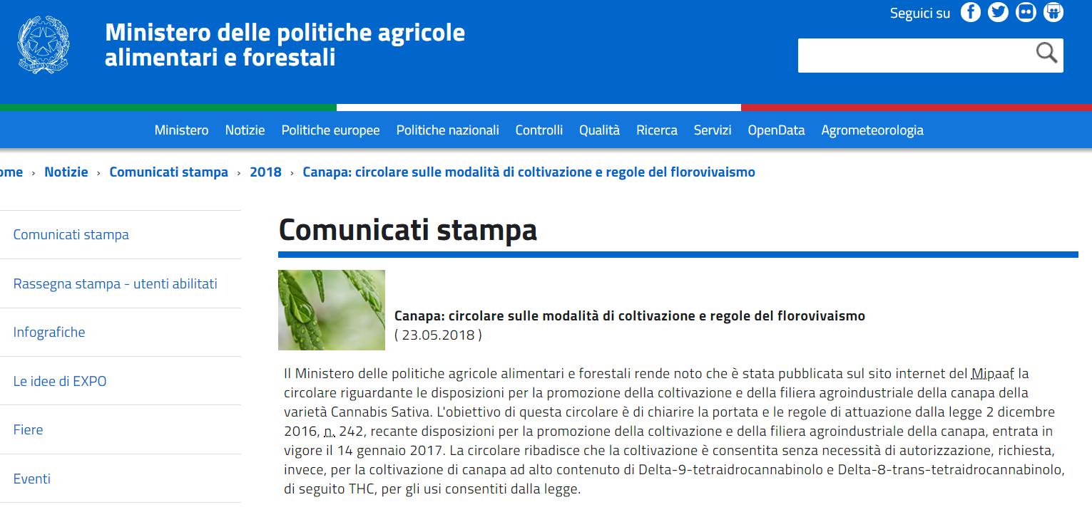 disposizione sulla coltivazione della canapa del ministero delle politiche agricole